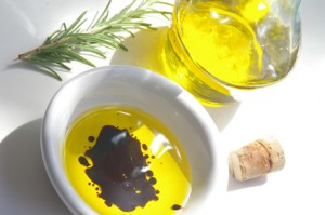 Olive oil with balsamic vinegar and rosemary